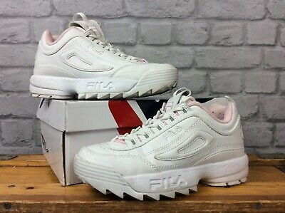 FILA LADIES UK 5 Eu 38.5 Disruptor Ii White Pale Pink Chunky ...
