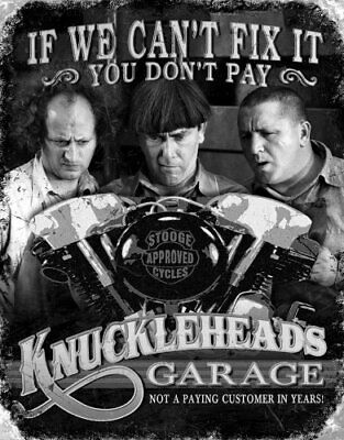 The Three Stooges Knuckleheads Garage Mechanics Retro Tin Sign 13 x 16in
