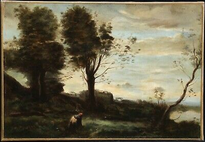 19th CENTURY FRENCH BARBIZON OIL ON CANVAS - AFTER COROT - FIGURE IN LANDSCAPE
