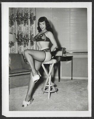 Vintage 1950s Original Bettie Page Pin-Up Icon Photograph Flirty on a Barstool
