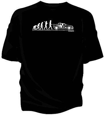 Evolution of Man, Ford RS200 Group B classic rally car t-shirt.