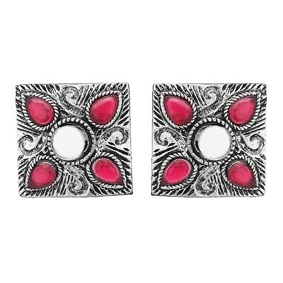 Tribal Ethnic Clip Afghani Beauty Earring Red Stone Silver Plated Square Design