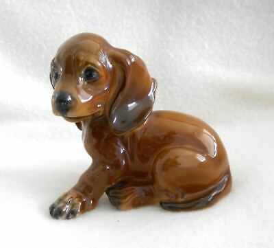 Old Porcelain Rosenthal Dachshund Puppy Kusper Dog Figurine Germany Heartwarming