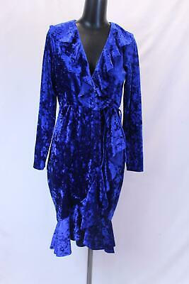 a6a807cc75e GS Love Women s Ruffle V-Neck Crushed Velvet Midi Dress KB8 Blue Size 2XL  NWT