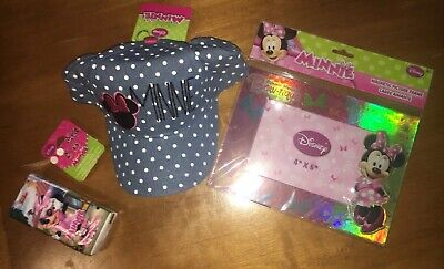 Disney Girls Minnie Mouse Pink Polka Dot Adjustable Baseball Cap Hat Earring Lot