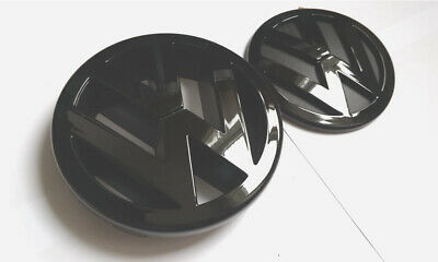 Vw Gloss Black Front Grill / Rear Boot Badges Emblems Polo 9A 9N 9N3 Gti Tdi Cup