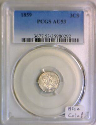 1859 Three Cent Silver PCGS AU-53; Nice Coin!