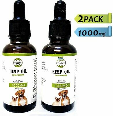 Hemp Oil for Dogs Cats Pets (1000mg) - Anxiety Relief Joint- Calming Drops
