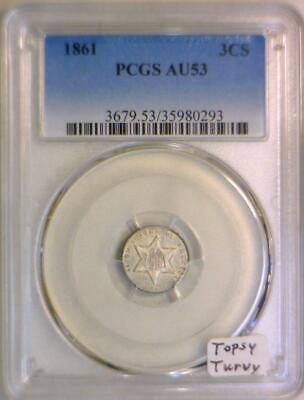 1861 Three Cent Silver  PCGS AU-53; Topsy Turvy