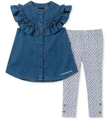 43ac97f6609c Calvin Klein Toddler Girls Denim Tunic 2pc Legging Set Size 2T 3T 4T $55
