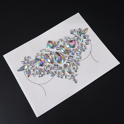 1x body adhesive glitter tattoo chest gem rhinestone crystal sticker festival Lp
