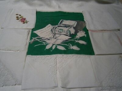 9 Vintage Preloved Cotton  Lace & Embroidered Handkerchiefs Milano 1856 Souvenir