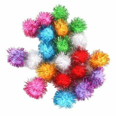 21 pcs 3.5cm Tinsel Pompoms Balls Cat Favorite Toy Sparkle Balls Assorted Color