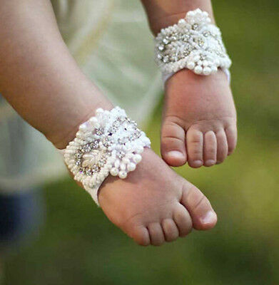 Newborn Baby Girl Kids Infant Headband Crystal Foot Flower Hair Band Accessories