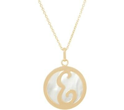 """Honora Yellow Plated Sterling Mother-Of-Pearl 'E' Initial 18"""" Necklace Qvc"""