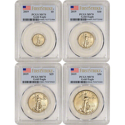 2019 American Gold Eagle 4-pc Year Set - PCGS MS70 First Strike Label