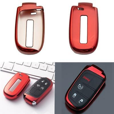Glossy Black TPU Remote Smart Key Cover FOB Shell Case For Dodge Jeep Chrysler