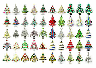 Wholesale Lot Bulk Gorgeous 50 Pcs Christmas Tree Pin Brooch Assortment