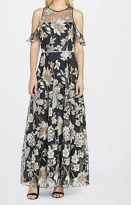 36aeaa2ecd3 Tahari by ASL NEW Black Women s Size 12 Floral Embroider Gown Dress  298-   417