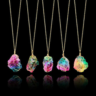 Rainbow Stone Natural Charm Crystal Chakra Necklace Gold Plated Quartz Pendant