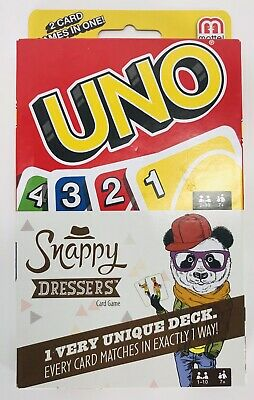 NEW Uno and Snappy Dressers Card Game Combo Pack (2 Card Games in One) Mattel