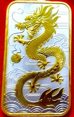 2018 Silver Australian Dragon , 1oz .9999 pure Silver Bar ,  24k Gold Gilded 1