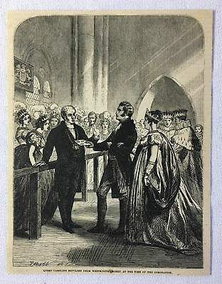 1880 magazine engraving~QUEEN CAROLINE Repulsed From Westminster