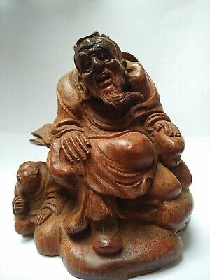 Collection Ancient Chinese Hand Carving Bamboo Buddha Statue Family Decoration