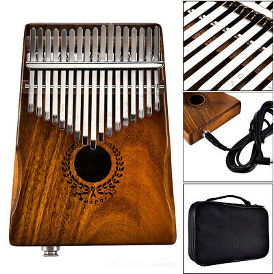 17 Keys EQ kalimba Solid Acacia Thumb Piano Link Speaker Electric Pickup+Bag US