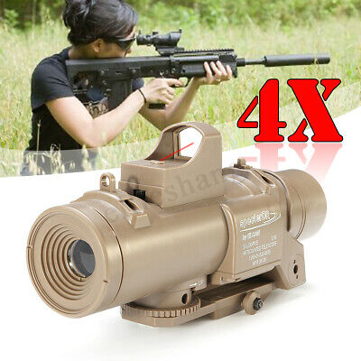 Tactical 4X Mirror Magnifier Scope Red Dot Sight For Gel Ball Blaster Toy
