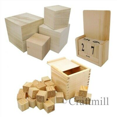 Plain Wooden Building Blocks Cubes Baby Child Christening Birthday Ornament Gift