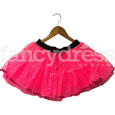 Girls Ladies Neon Pink Sequin Tutu Skirt Childs Ballet Party Colour Fun Run NEW