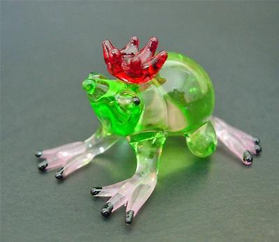 Glass FROG TOAD Tinted Green & Red Glass Animal Glass Ornament Glass Figure Gift