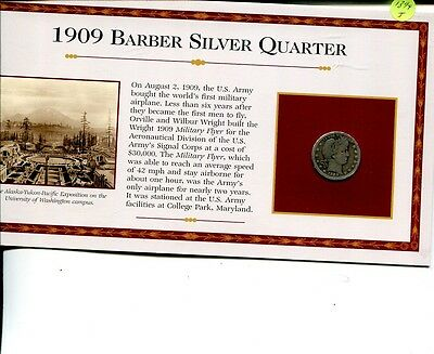 1909 D Barber Silver Quarter Very Good With Information Card 1899J