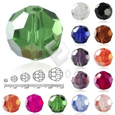 50/72/100/150pcs Round Crystal Loose Beads Facted Jewelry Findings 3/6/8/10/12mm
