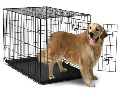 "42"" Dog Crate Folding Wire Metal Cage  Kennel With Tray Pan and  Divider"