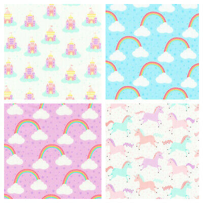 Chasing rainbows 100% cotton fabric by Robert Kaufman per FQT unicorns/rainbows