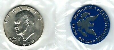 "Eisenhower Uncirculated Silver Dollar 1974-S /""Blue Ike/"""