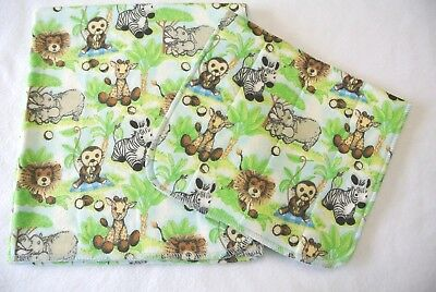 Baby Blanket Burp Cloth Set Monkeys Jungle Palm Trees Can Be Personalized