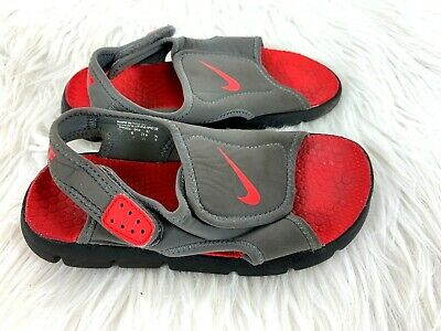 more photos bd1a4 3dcf7 Nike Sunray Adjust 4 Sandals size 13 C Children Little Kids Heel Strap Gray  Red
