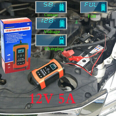 12V 5A Smart Battery Charger Auto Motorcycle LCD Pulse Repair Charger UK Plug