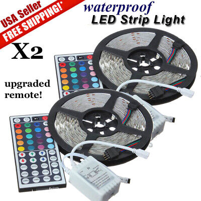 2 PCS 5M 16.4ft 5050 RGB SMD Waterproof LED Strip Light 300 24 Key Remote DC 12V