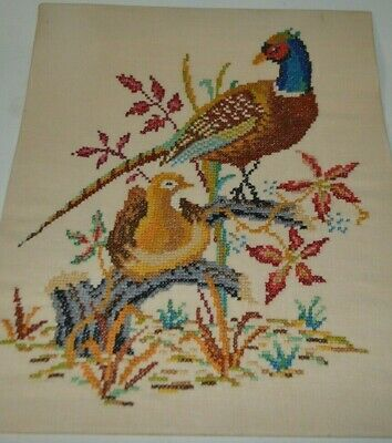 "Vintage Mid Century Needlepoint Cross Stitch Embroidery Pheasant 17"" x 21"""