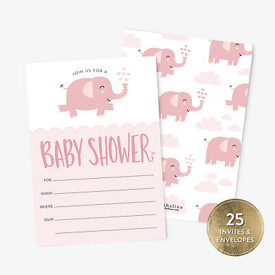 25 Baby Shower Invitation Girl With Envelopes Pink Elephant Baby