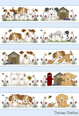 Puppy Dog Baby Nursery Wallpaper Border Wall Art Decals Kids