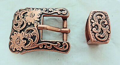 Copper Floral Buckle Keeper Loop Set Engraved Antiqued Horse Tack Belt Western