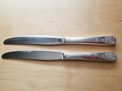 """2 Antique Knives 9"""",Simeon L&George H Rogers Co. Silver Plated, Hollow Handle"""