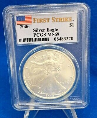 2006 Silver Eagle .999 Silver PCGS MS69 First Strike Flag Label