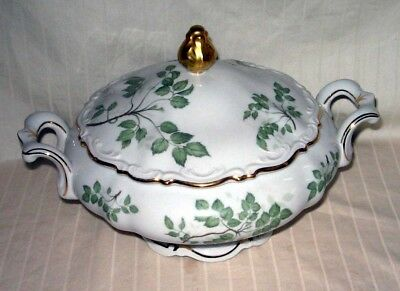 Green Leaves China Germany Lidded Soup Tureen Millerteich Bavaria