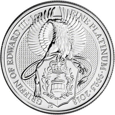 2018 Great Britain Platinum Queen's Beasts Griffin £100 - 1 oz - BU